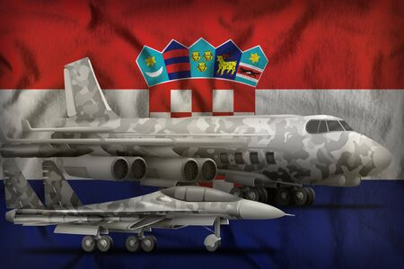 air forces with grey camouflage on the Croatia flag background. Croatia air forces concept. 3d Illustration Stockfoto - 130081420