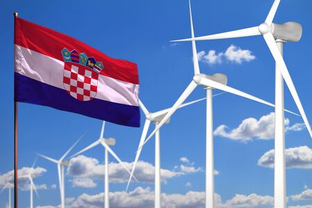 Croatia alternative energy, wind energy industrial concept with windmills and flag - alternative renewable energy industrial illustration, 3D illustration