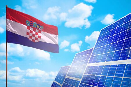 Croatia alternative energy, solar energy concept with flag - symbol of fight with global warming - industrial illustration, 3D illustration