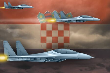 Croatia air strike concept. Modern war airplanes attack on Croatia flag background. 3d Illustration