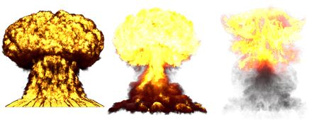 3 large very detailed different phases mushroom cloud explosion of fusion bomb with smoke and fire isolated on white - 3D illustration of explosion