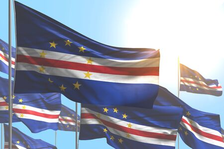 nice many Cabo Verde flags are waving on blue sky background - any occasion flag 3d illustration Banco de Imagens