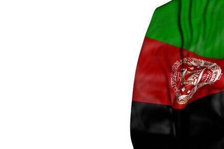 schöne Afghanistan-Flagge mit großen Falten, die flach auf der linken Seite liegen, isoliert auf weiß - jede Feiertagsflagge 3D-Darstellung
