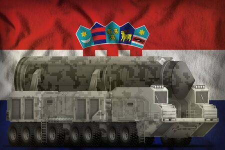intercontinental ballistic missile with city camouflage on the Croatia flag background. 3d Illustration