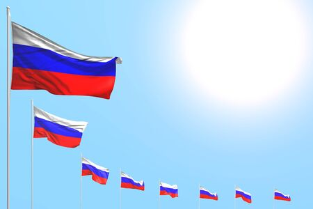 cute any occasion flag 3d illustration  - many Russia flags placed diagonal on blue sky with space for your text