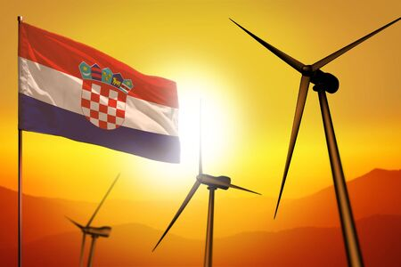 Croatia wind energy, alternative energy environment concept with turbines and flag on sunset - alternative renewable energy - industrial illustration, 3D illustration Archivio Fotografico - 130068096