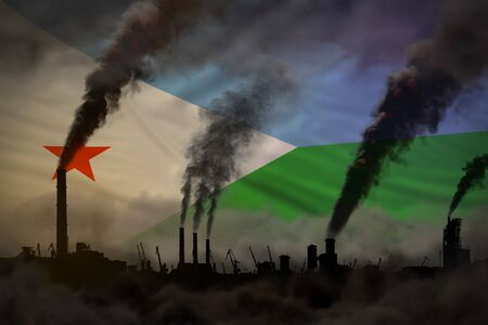 dense smoke of plant chimneys on Djibouti flag - global warming concept, background with space for your text - industrial 3D illustration Reklamní fotografie