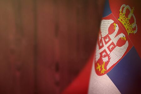 Serbia hanging flag for honour of veterans day or memorial day on red blurred natural wood wall background. Serbia glory to the heroes of war concept.