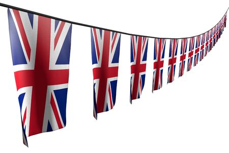 wonderful any holiday flag 3d illustration  - many United Kingdom (UK) flags or banners hangs diagonal with perspective view on rope isolated on white Banco de Imagens