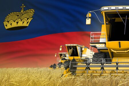 3 yellow modern combine harvesters with Liechtenstein flag on farm field - close view, farming concept - industrial 3D illustration Archivio Fotografico - 130071092