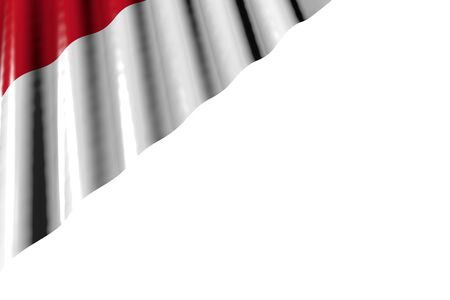 nice shiny flag of Indonesia with large folds lying in left top corner isolated on white - any feast flag 3d illustration
