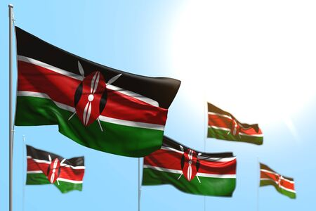 nice independence day flag 3d illustration  - 5 flags of Kenya are waving against blue sky picture with selective focus