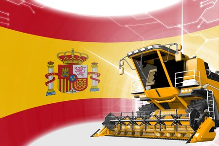 Agriculture innovation concept, yellow advanced rural combine harvester on Spain flag - digital industrial 3D illustration Archivio Fotografico - 130081732
