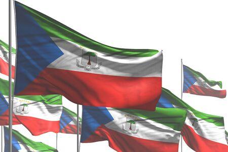 wonderful many Equatorial Guinea flags are wave isolated on white - any celebration flag 3d illustration