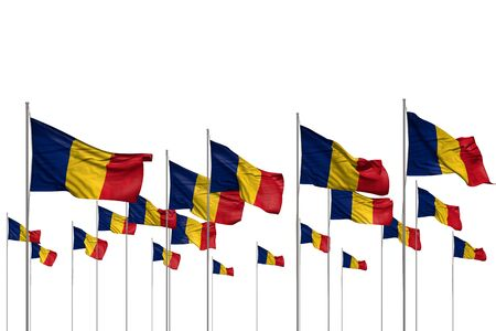 pretty many Romania flags in a row isolated on white with free place for content - any holiday flag 3d illustration