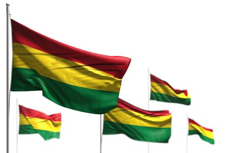 wonderful five flags of Bolivia are wave isolated on white - illustration with bokeh - any occasion flag 3d illustration