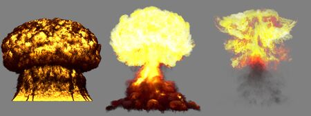 3 large very highly detailed different phases mushroom cloud explosion of super bomb with smoke and fire isolated on grey - 3D illustration of explosion 版權商用圖片
