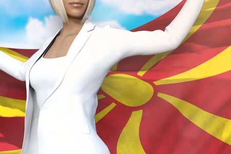 sexy business woman is holding Macedonia flag in her hands behind her on the blue sky background - flag concept 3d illustration