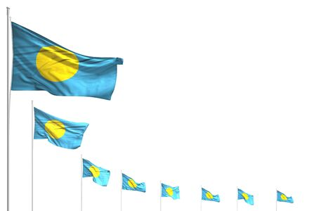 beautiful many Palau flags placed diagonal isolated on white with space for your content - any occasion flag 3d illustration
