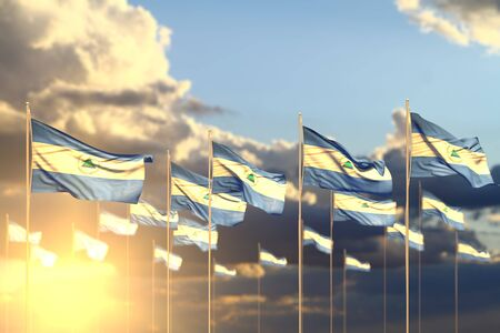 wonderful celebration flag 3d illustration  - many Nicaragua flags on sunset placed in row with selective focus and place for your content