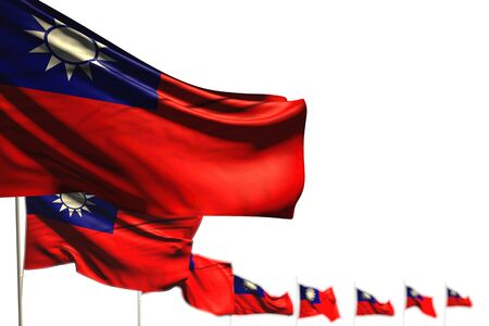 wonderful day of flag 3d illustration  - Taiwan Province of China isolated flags placed diagonal, photo with selective focus and space for your content