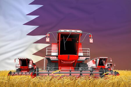 industrial 3D illustration of four bright red combine harvesters on wheat field with flag background, Qatar agriculture concept Banque d'images - 130115855