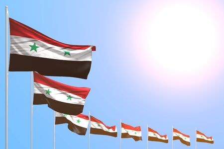 pretty many Syrian Arab Republic flags placed diagonal on blue sky with place for text - any occasion flag 3d illustration Banco de Imagens