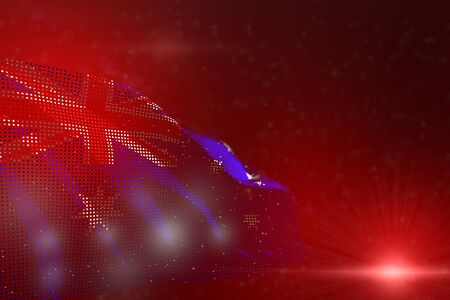 cute bright photo of Australia flag of dots waving on red - soft focus and space for content - any celebration flag 3d illustration Imagens