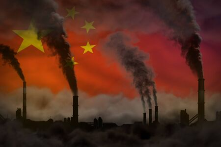 Dark pollution, fight against climate change concept - factory chimneys dense smoke on China flag background - industrial 3D illustration