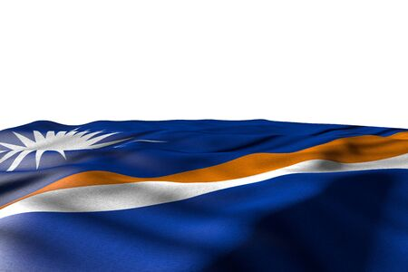 pretty mockup picture of Marshall Islands flag lying with perspective view isolated on white with space for content - any occasion flag 3d illustration 写真素材