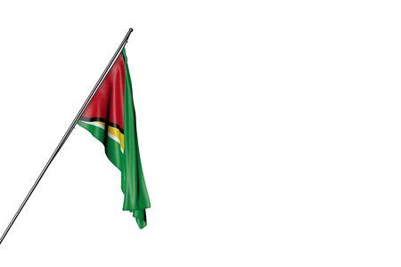 wonderful celebration flag 3d illustration  - Guyana flag hangs on a diagonal pole isolated on white Imagens
