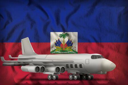 bomber on the Haiti flag background. 3d Illustration
