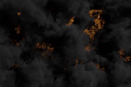 dark smoke on glowing misty fire background - fire 3D illustration
