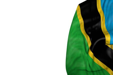 nice day of flag 3d illustration  - Tanzania flag with big folds lying flat in left side isolated on white Imagens