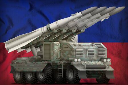 tactical short range ballistic missile with arctic camouflage on the Haiti flag background. 3d Illustration