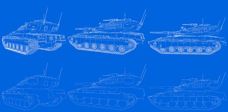 blue print of outlined isolated 3D miltary tank with not real design, highly detailed army power concept - military 3D Illustration