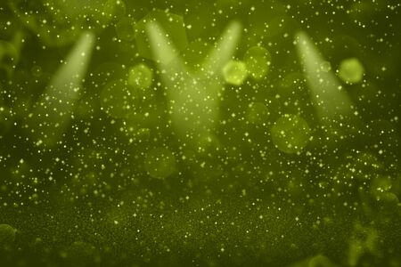 yellow beautiful glossy abstract background stage spotlights with sparks fly defocused bokeh - festival mockup texture with blank space for your content 免版税图像