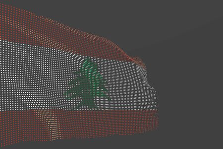 cute feast flag 3d illustration  - hi-tech photo of Lebanon isolated flag made of glowing dots wave on grey background