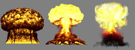 3 big highly detailed different phases mushroom cloud explosion of nuke bomb with smoke and fire isolated on grey - 3D illustration of explosion