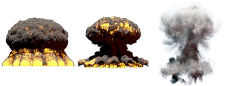 3 big different phases fire mushroom cloud explosion of fusion bomb with smoke and flames isolated on white - 3D illustration of explosion 写真素材