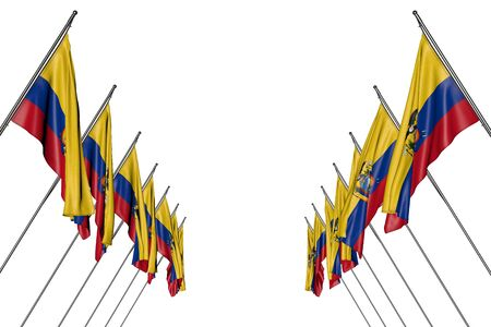 nice many Ecuador flags hanging on in corner poles from left and right sides isolated on white - any celebration flag 3d illustration Imagens
