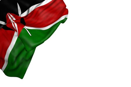pretty Kenya flag with big folds lay in top left corner isolated on white - any occasion flag 3d illustration Imagens