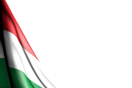 beautiful any feast flag 3d illustration - isolated illustration of Hungary flag hanging diagonal - mockup on white with place for your text