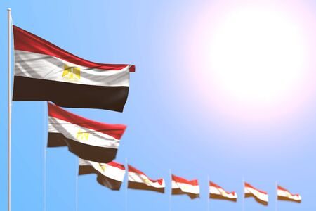 wonderful any feast flag 3d illustration  - many Egypt flags placed diagonal with selective focus and free place for text Stockfoto