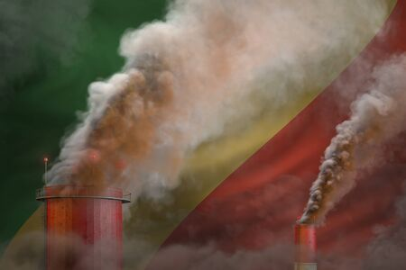 Global warming concept - dense smoke from industrial chimneys on Congo flag background with space for your logo - industrial 3D illustration 스톡 콘텐츠