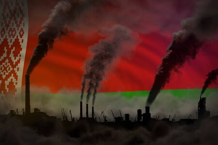 Dark pollution, fight against climate change concept - industrial 3D illustration of industry pipes dense smoke on Belarus flag background