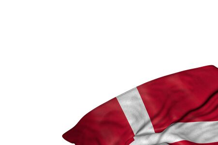beautiful Denmark flag with large folds lying flat in bottom right corner isolated on white - any holiday flag 3d illustration