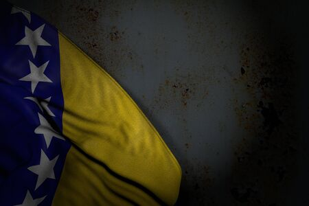 wonderful independence day flag 3d illustration  - dark image of Bosnia and Herzegovina flag with big folds on rusty metal with free place for text Imagens
