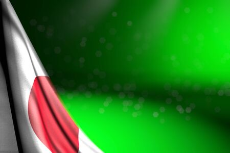 cute image of Japan flag hangs in corner on green with bokeh and empty place for your content - any feast flag 3d illustration