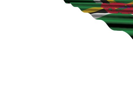 beautiful glossy flag of Dominica with big folds lying flat in right top corner isolated on white - any occasion flag 3d illustration 版權商用圖片